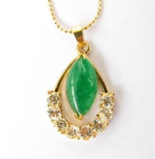 Womens Charm Crystal Jade Pendant Long Chain Necklace