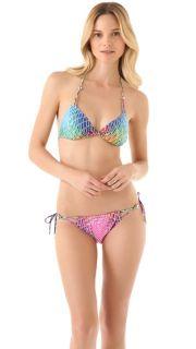 Red Carter Disco Ball Triangle Bikini Top