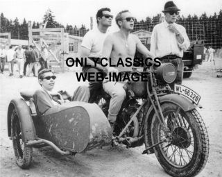 Steve McQueen Harley Davidson Motorcycle Sidecar Photo