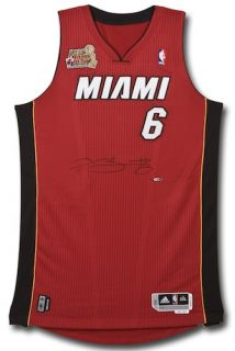 Lebron James Signed 2012 Heat Champ Logo Patch Authentic Jersey UDA Le