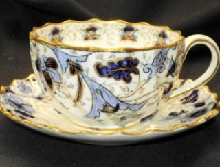 WT Copeland Spode England Royal Blue Gold Antique Cup and Saucer