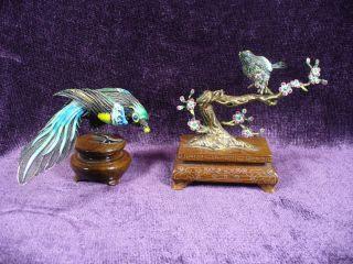 Vintage Chinese Silver Enamel Bird Tree