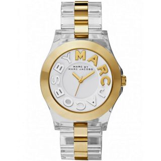 Authentic Marc Jacobs Rivera Clear Acrylic Gold Ladies Watch MBM4546