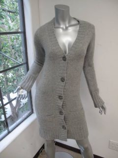 James Perse Gray Long Sleeve Button Down Long Cashmere Sweater 1