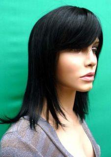 100 Real Human Hair Off Black Wig Wigs UK 17 BH20B 1B