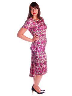 Vintage Dress 1950s Purple Floral Silk Dress Sequined Paul Parnes