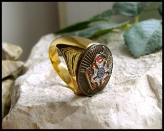 Size 12 5 Knights Templar Jacques Demolay Order Gold Ring D87G