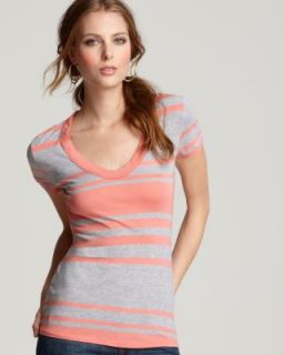 James Perse New Gray Striped Scoop Neck Short Sleeve T Shirt Top 3