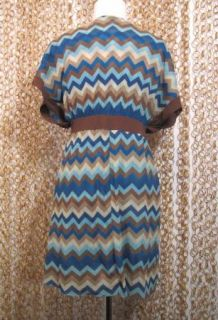 Sweet Pea Anthropologie Stacy Frati Brown V Neck Chevron Striped Mesh
