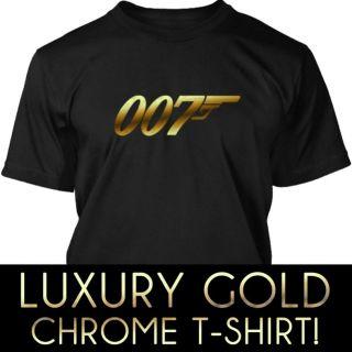 007 James Bond Golden Gun Skyfall Luxury Gold Chrome Vinyl T Shirt XS