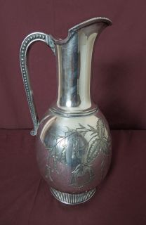 Very Fine Victorian James w Tufts Silver Plated Water Pitcher