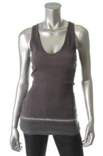 James Perse New Gray Ribbed DIP Dye Sleeveless V Neck Tank Top Shirt 3