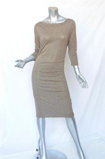 James Perse Standard Pinstriped Beige Black Ruched Jersey Bodycon