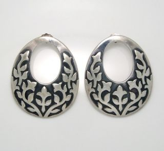 James Avery Large Oval Ivy Vine Flower Sterling Silver 925 Earrings Q