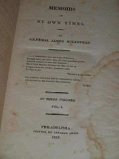 General James Wilkinson 1st Edition 3 Vols Memoirs 1816
