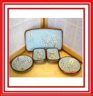 5PC Set Japanese Blue Sakura Cherry Blossom Sushi Plates Plate NEW