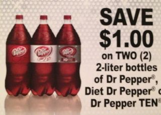 10 Coupons $1 2 Any 2L Bottles of Dr Pepper Diet or Ten