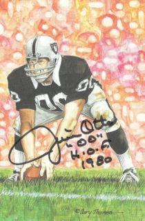 Jim Otto Signed Oakland Raiders Goal Line Art Card Whof