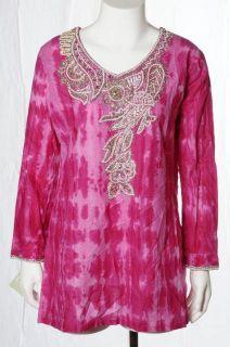 Jasmin New NWT Fushia Pink Silver Sparkle Beaded Tunic Top Kurti Shirt