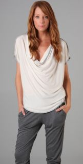 Haute Hippie Draped Front Tee with Contrast Piping