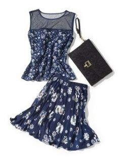 Jason Wu for Target Navy Floral Sleeveless Top Pleated Skirt Lace