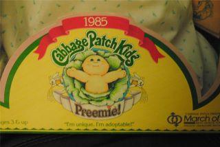 Patch Kids Kid PREEMIE Baby Rikki Janina Doll Vintage 1985 NRFB Papers