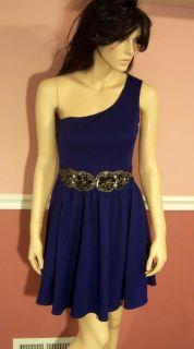 Jay Godfrey One Shoulder Beaded Waist Cobalt Dress Size 6