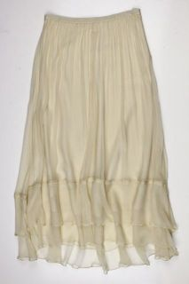 Elizabeth and James Womens Maxi Flared Melon Ivory Silk Skirt XS $205