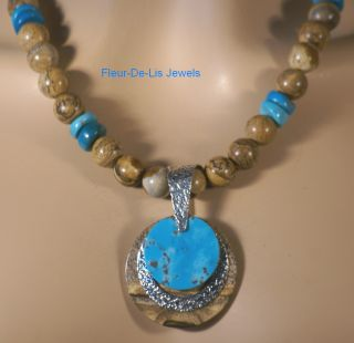 Jay King Mine Finds Sleeping Beauty Turquoise Picture Jasper Necklace