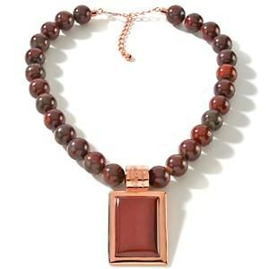 Jay King MINE FINDS Tanzanian Rose Red Rectangular Pendant & Necklace