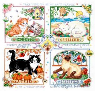 Janlynn Stamped Cross Stitch Kit 14 x 14 Four Seasons Cats Sale 023