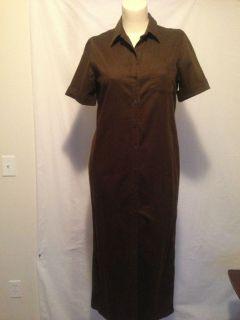 Jones New York Green Short Sleeve Button Down Dress