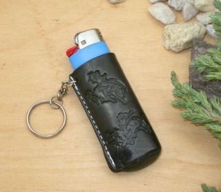 Horse Western Gifts Leather Rodeo Leather Key Ring Blk