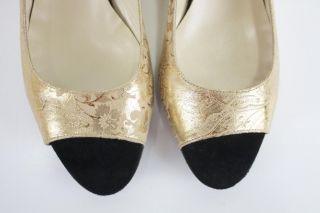 36 5 Nora Haron Jaya Gold Brocade Calf Leather Black Suede Peep Toe