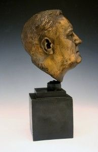 1934 Spelter Bronze Patina Bust Franklin D Roosevelt