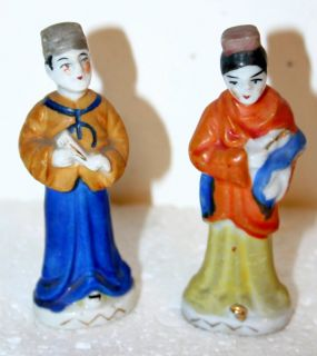 Pair of Chinese Man Woman Porcelain Figurines Japan