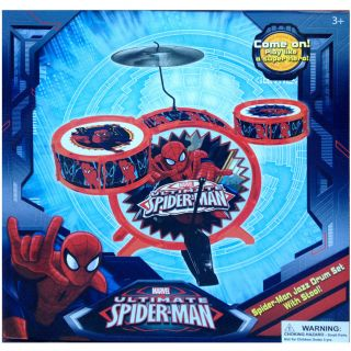Spiderman Spider Man Jazz Drum Set with Stool Movie Boys 3 8