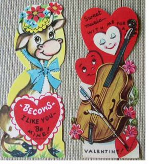 12 19405   50S UNUSED USA VALENTINE CARDS SCOOTER BAG PIPE COW FALSE