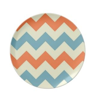 Orange blue chevron zigzag stripes zig zag pattern party plate