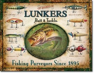 1757 Metal Tin Sign Lunkers Lures Decor Made in USA Dav Life Member