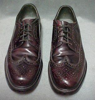 Vintage Jarman Rich Burgundy Brogue Medallion Wingtip Shoes Mens Size