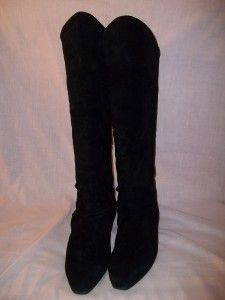 Vintage 80s Jasmin Black Suede Knee High Boots 6 5