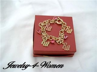 Jay Z Rocawear Gold Crystal Multi Charm Toggle Bracelet