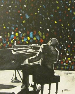 10 x 8 Original Modern Abstract Jazz Blues Art Ray Charles Music Piano