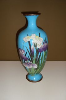 Fine Antique Japanese Cloisonne Vase Delicate Flowers c1900 Lovely