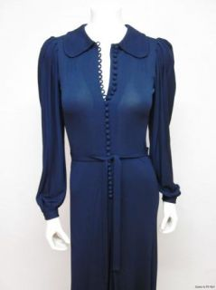 Jean Muir Vintage 70s Navy Matte Jersey Knit Button Fastening Long