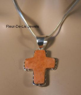 Jay King Mine Finds Orange Coral Cross Pendant Sterling Silver