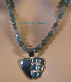 Jay King Mine Finds Apatite Heart Pendant Necklace Sterling Silver
