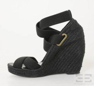 Jean Michel Cazabat Black Espadrille Strappy Wedges Size 38 5