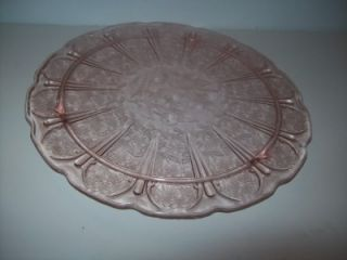 Jeannette Pink Depression Cherry Blossom Footed Cake Plate